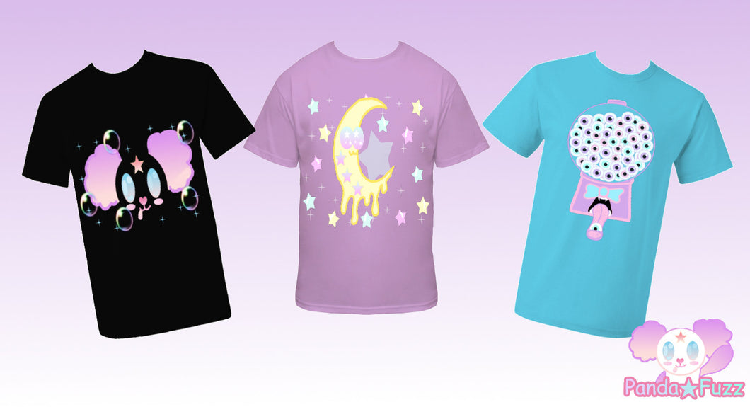 Pick 2 T-Shirts Kawaii Fairy Kei Decora Creepy Cute Pastel Goth Eye Ball Gumball Machine Smiling Moon Panda Melting Moon Got Blood