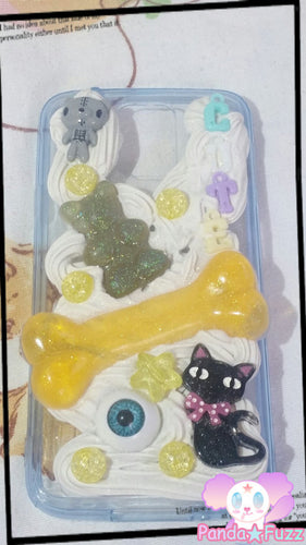 DISCOUNTED READY To SHIP Kawaii Spooky Creepy Cute Samsung Galaxy 5 Deco Case Black Cat Bone Eye Ball Pastel Goth