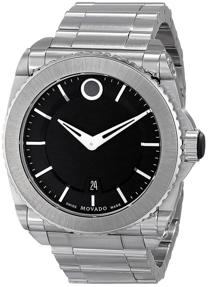 Movado 0606550 Master Men's Black Dial Titanium Bezel Watch