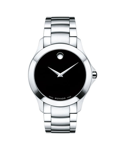 Movado Masino Black Dial Signature Dot Steel Quartz Men Watch 0607032