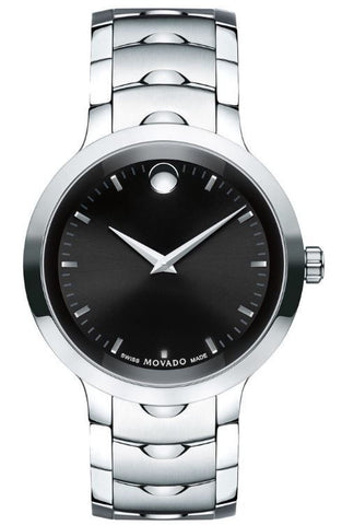 Movado Luno Black Dial Index Marker Integrated Links Men Watch 0607041