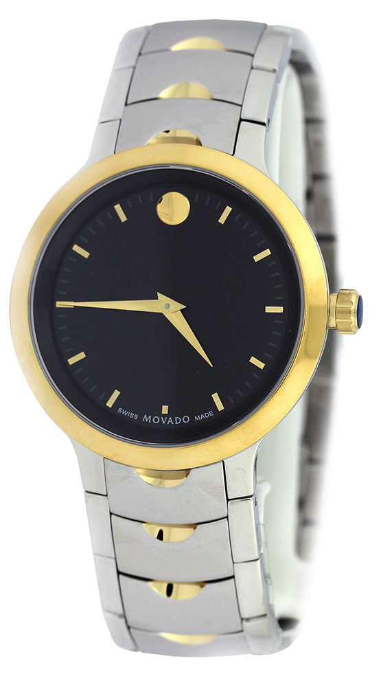 Movado Luno Black Dial Index Marker Two Toned Steel Men Watch 0607043