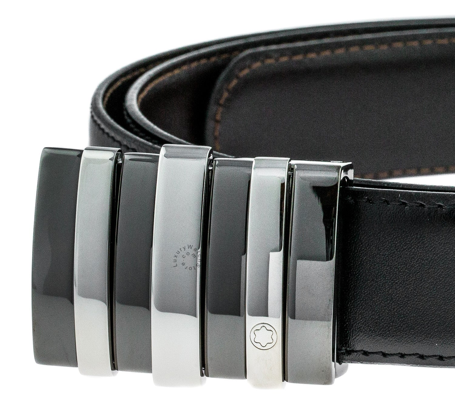 Montblanc Contemporary Line 3 Rings Motif Men's Leather Belt 103427
