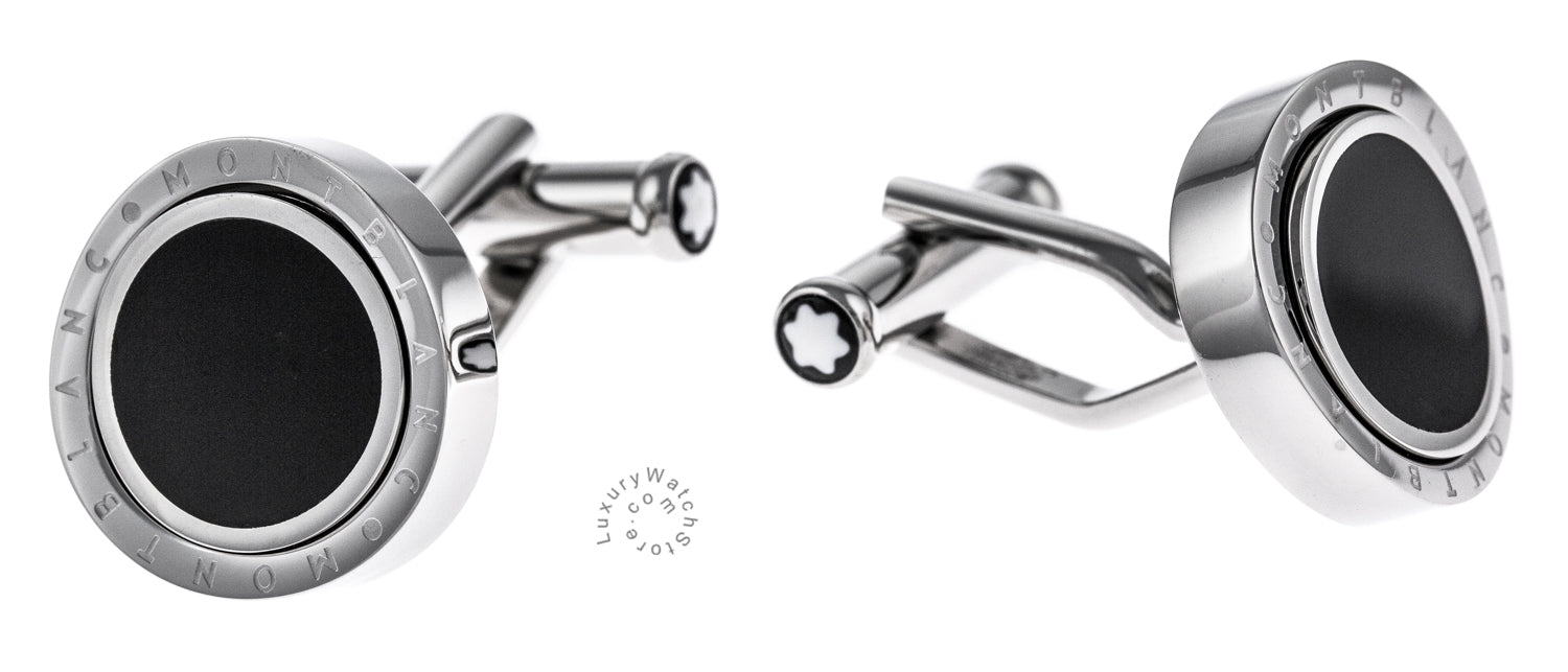 Montblanc 104505 Creative Onyx Inlay Stainless Steel Cuff Links