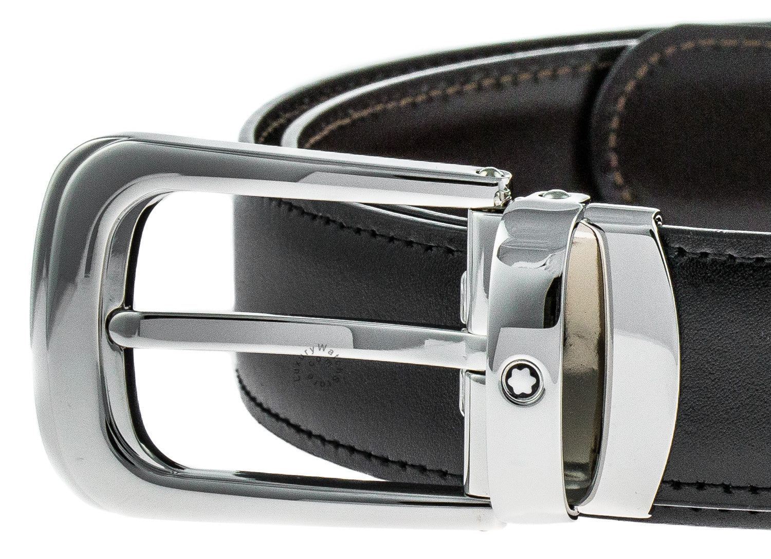 Montblanc Shiny Horseshoe Pin Buckle Men's Reversible Belt 106603