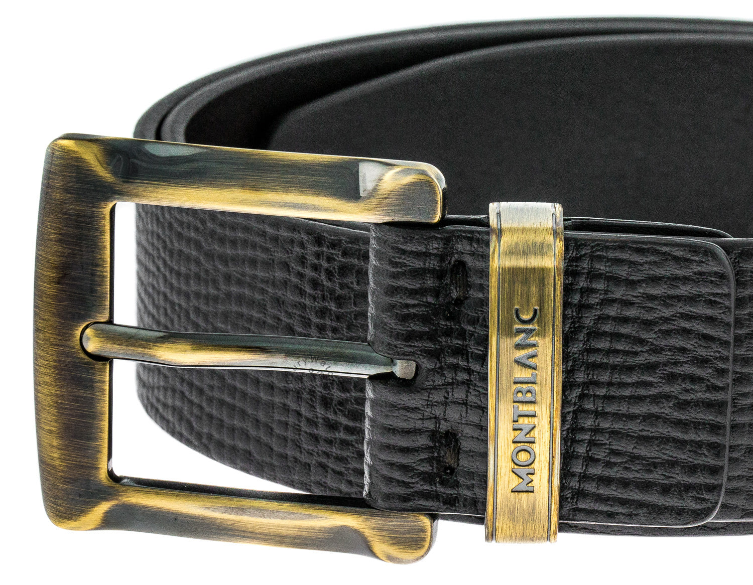 Montblanc 109773 Casual Rustic Bronze Buckle Men's Brown Leather Belt