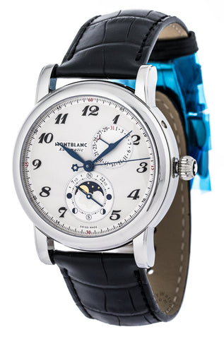 Montblanc Star Twin Moonphase Silver DI Leather Auto Men Watch 110642