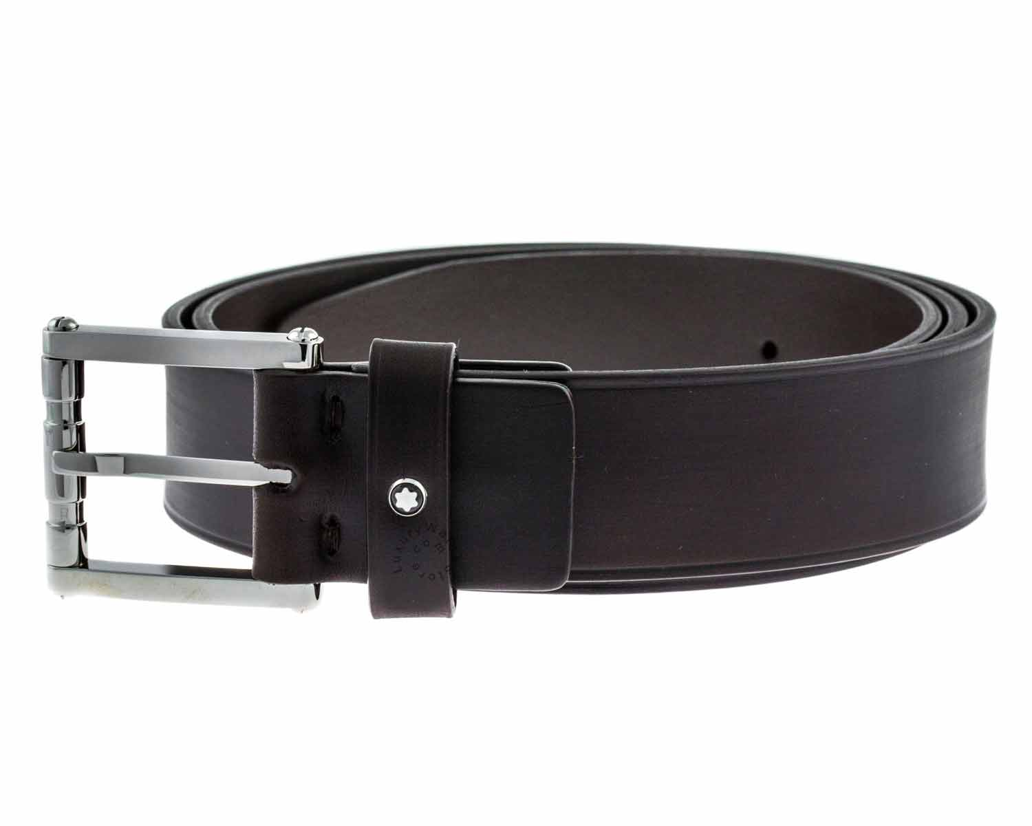 Montblanc 111104 Square Roll Pin Buckle Men's Brown Leather Belt