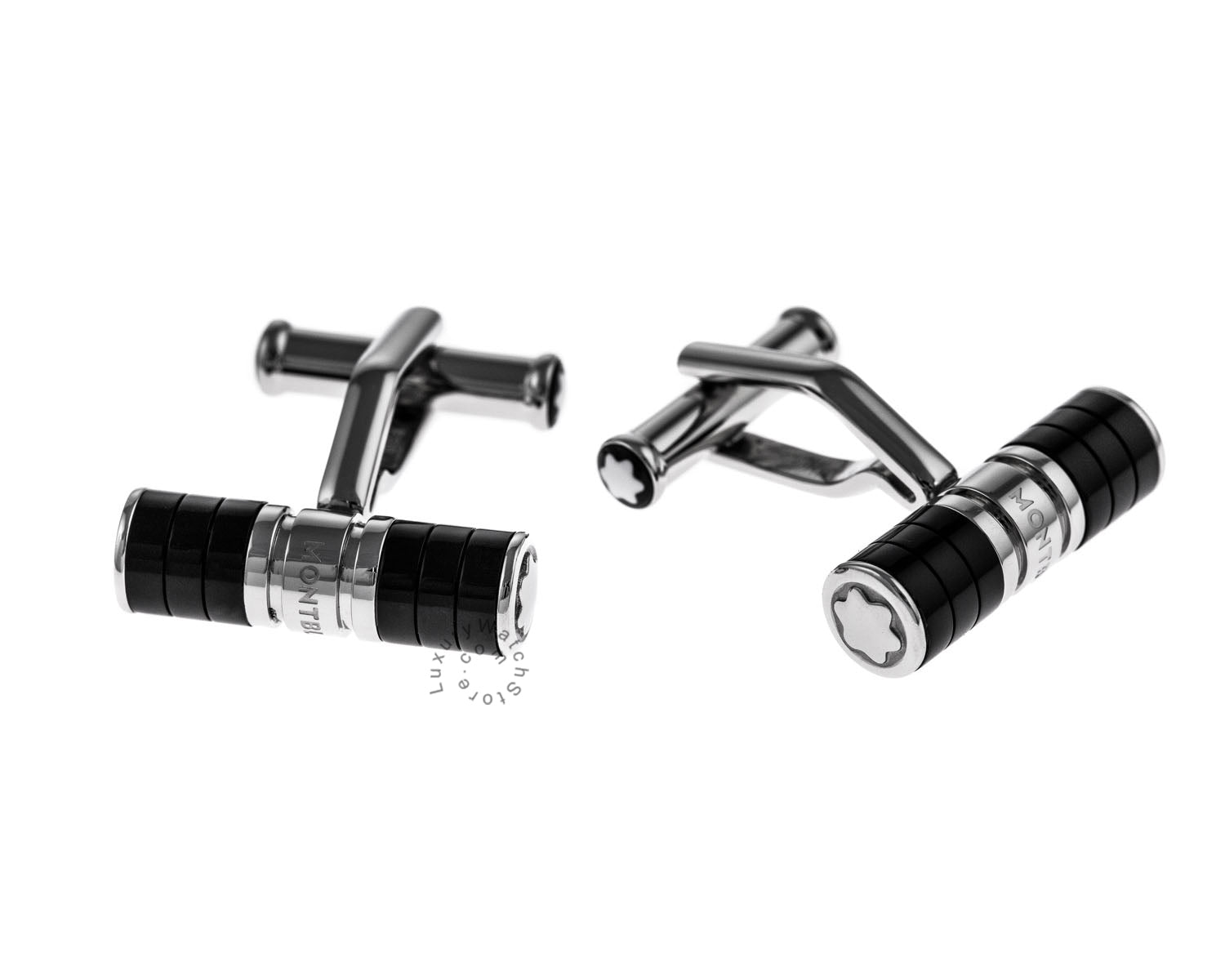 Montblanc Iconic Bar Black Resin & Stainless Steel Cuff Links 111309