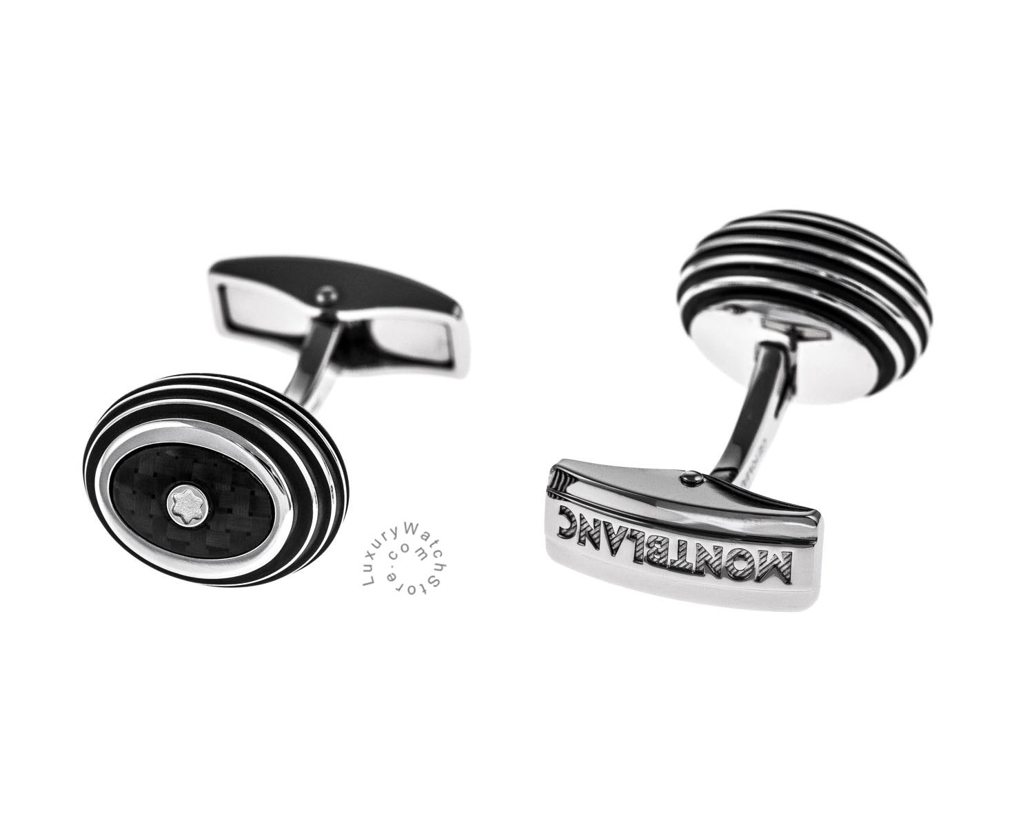Montblanc 111312 Iconic Black Carbon Inlay Stainless Steel Cuff Links