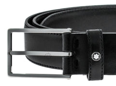 Montblanc Classic Line Rectangular Men's Black Leather Belt 111337