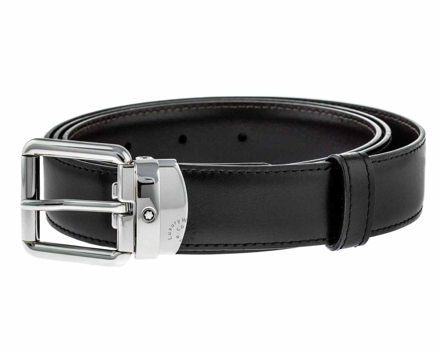 Montblanc Rounded Square Pin Buckle Reversible Leather Men Belt 112961