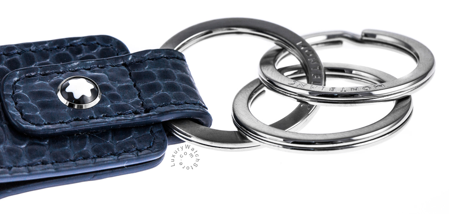Montblanc Meisterstück Selection 3 Rings Indigo Leather Key Fob 112980