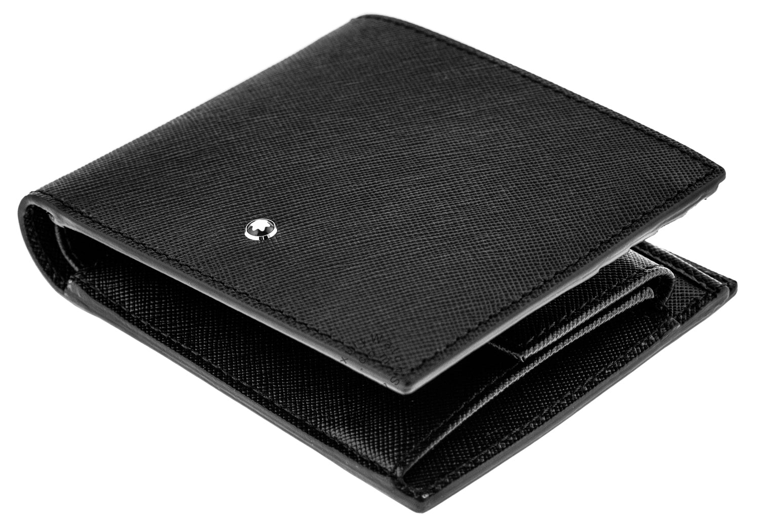 Montblanc Sartorial 4cc Coin Case Bi-Fold Black Leather Wallet 113222