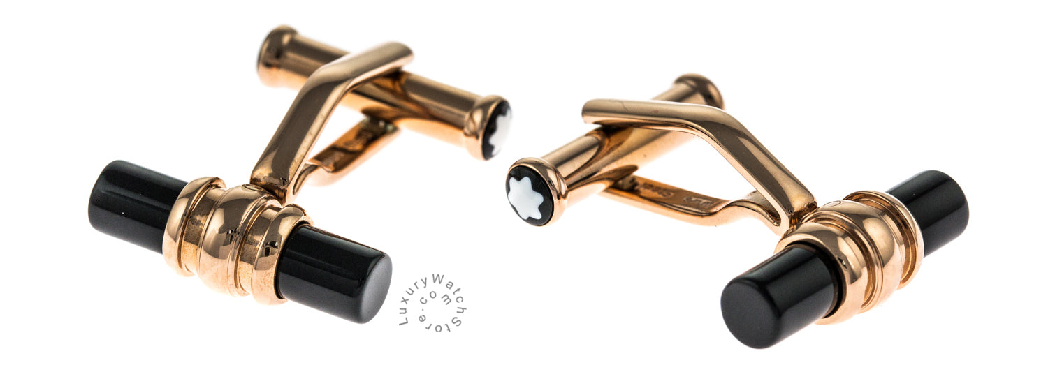 Montblanc Meisterstück Bar Shape Red Gold Pvd Onyx Cuff Links 113395