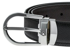 Montblanc Shiny Steel Horseshoe Buckle Saffiano Leather Belt 113834