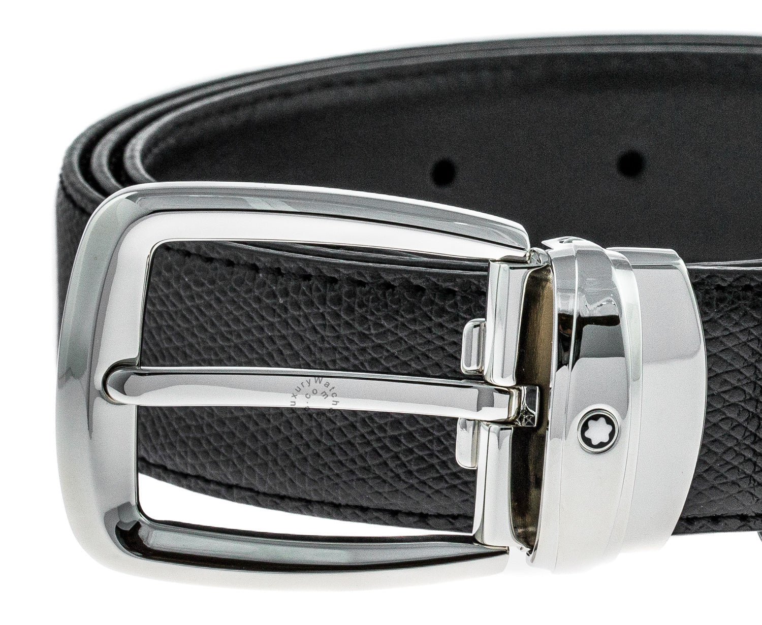 Montblanc Classic Line Trapeze Pin Buckle BLK Leather Men Belt 114387
