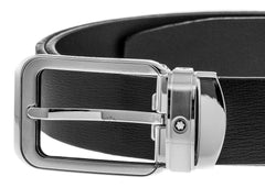 Montblanc Rectangular Rounded Matte Pin Buckle Leather Men Belt 114388