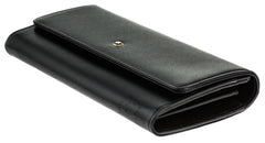 Montblanc Meisterstück 10cc w/ flap Black Leather Long Wallet 114530