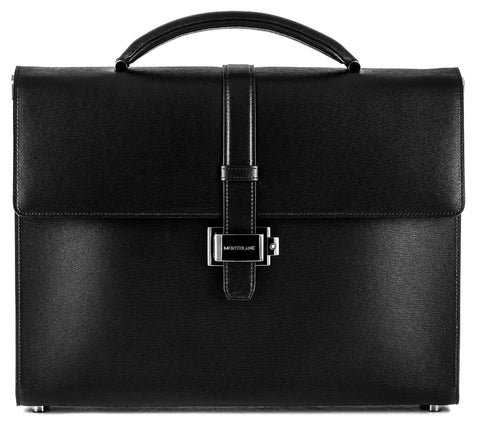 Montblanc 4810 Westside Black Leather Briefcase Single Gusset 114678