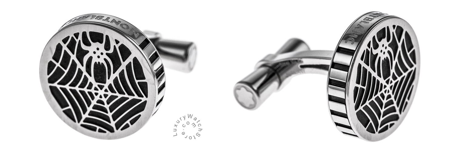 Montblanc Spider Round Shaped Black PVD Finish Steel Cuff Links 114708