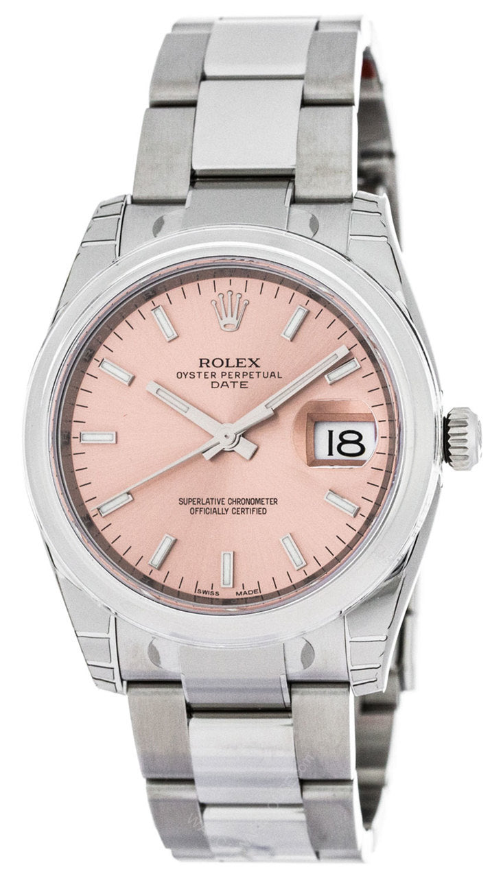 Rolex Oyster 34mm Perpetual Domed Pink Dial Oystersteel Watch 115200