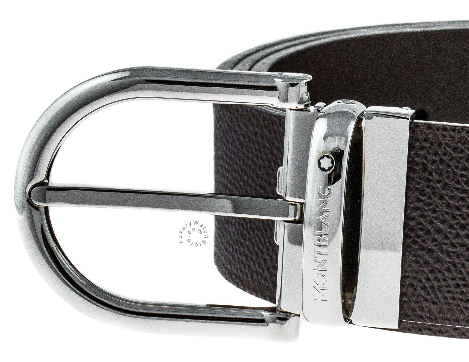 Montblanc Shiny Horseshoe Pin Buckle Brown Belt 116719
