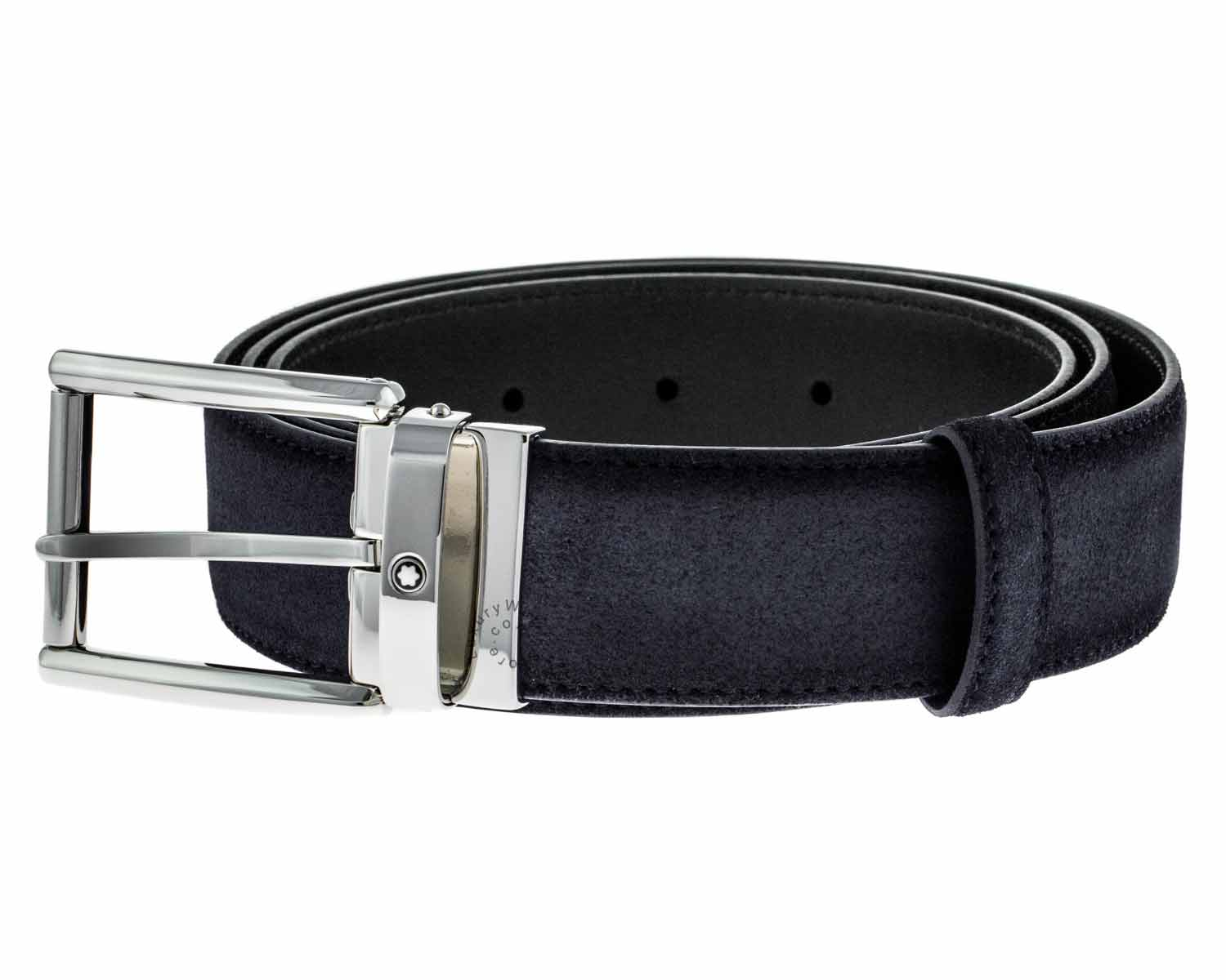 Montblanc Rectangular Shiny Palladium-Coated Pin Buckle Belt 116722