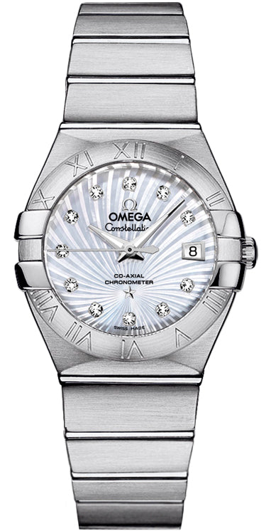 Omega Constellation MOP Diamonds Steel Women Watch 123.10.27.20.55.001