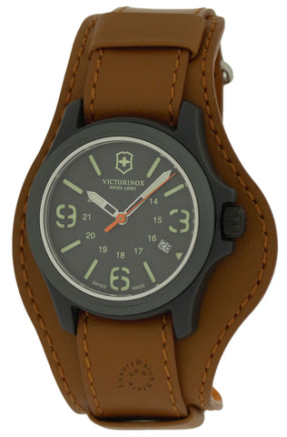 Victorinox Original Grey Dial Nylon Fiber BRN Leather Men Watch 241593