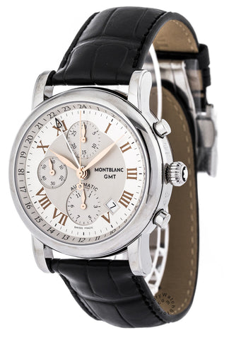 Montblanc Star Chronograph GMT Black Leather Automatic Men Watch 36967
