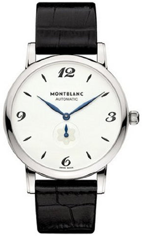 Montblanc Star Classique White Dial Black Alligator Leather Mens Watch 107073