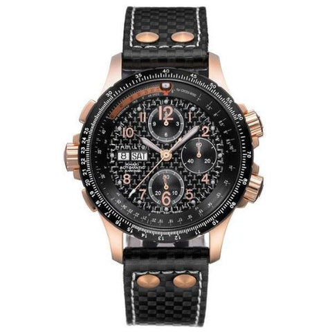 Hamilton Khaki Aviation X-Wind Chrono Black Dial Black Leather Band Men's Watch H77696793