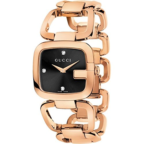 Gucci G-Collection 32x30MM Black Dial Rose Gold Tone Women's Watch YA125409