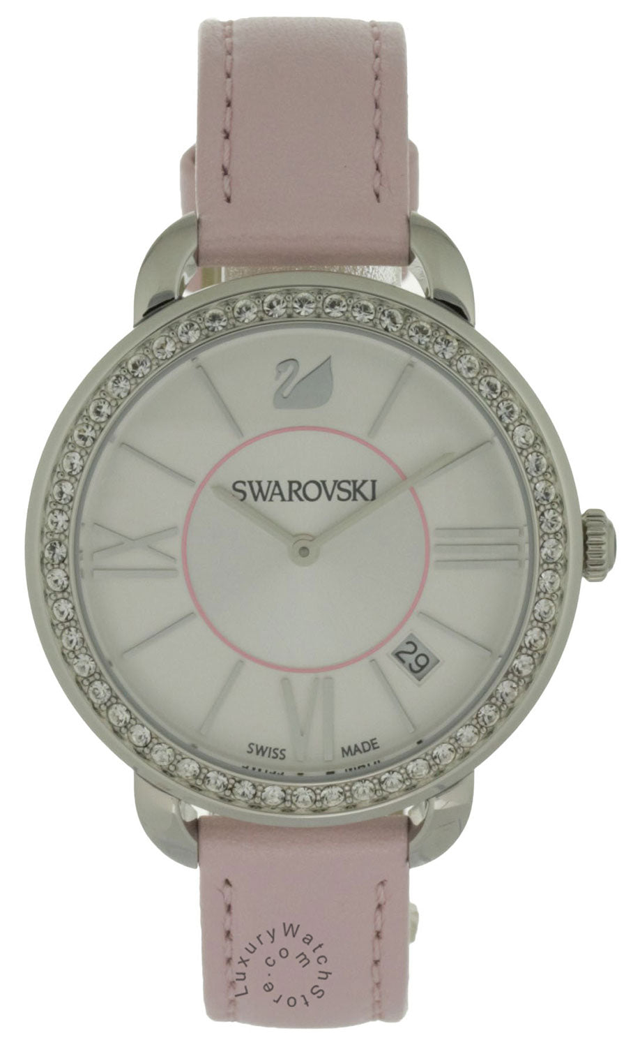 Swarovski Aila Day 52 Clear Crystals Rose Pink Leather Watch 5182189