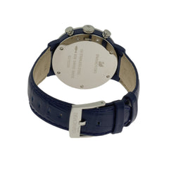 Swarovski Citra Sphere Chronograph Crystals Blue Leather Watch 5210208