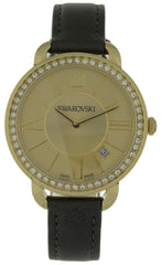 Swarovski Aila Day 52 Crystals Leather Band Gold Tone SS Watch 5221141