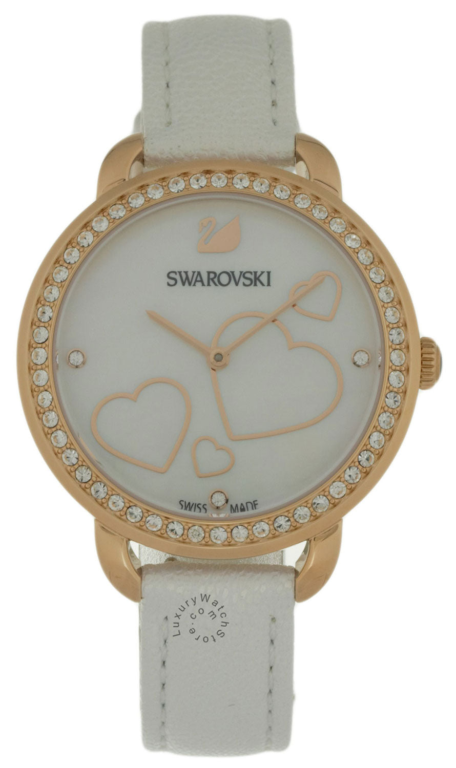 Swarovski Aila Day Heart Mother of Pearl White Leather Watch 5242514