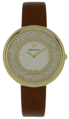 Swarovski Crystalline Pure 850 Crystals BRN Leather Band Watch 5275040
