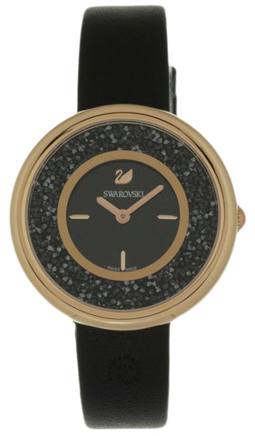 Swarovski Crystalline Pure 850 Crystals BLK Leather Band Watch 5275043