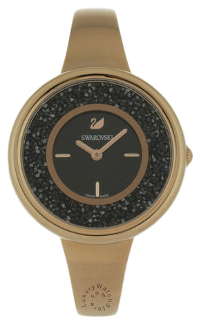 Swarovski Crystalline Pure 850 BLK Crystals Rose Gold SS Watch 5295334
