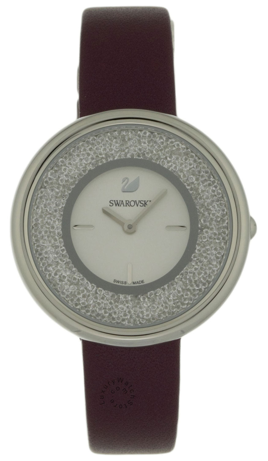 Swarovski Crystalline Pure 850 Crystals Burgundy Leather Watch 5295355