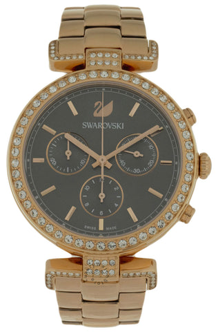 Swarovski Era Journey 50 Crystals BLK Dial Rose Gold PVD Watch 5295366