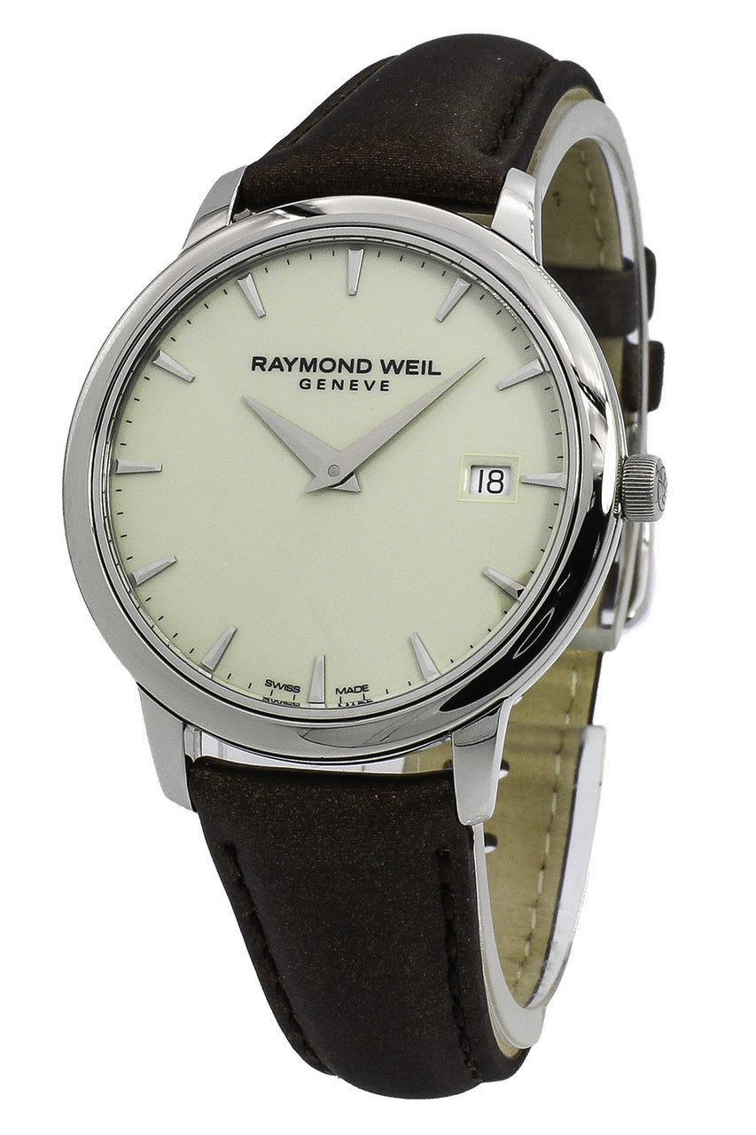 Raymond Weil Toccata Ivory Dial Brown Satin Women Watch 5388-STC-40001
