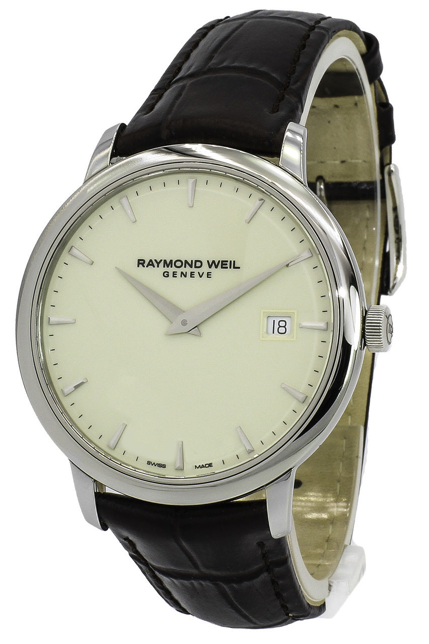 Raymond Weil Toccata Ivory Dial Leather Unisex Watch 5488-STC-40001