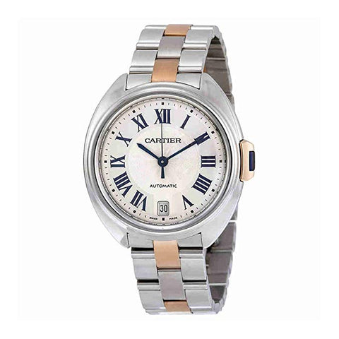 Cartier Cle Automatic Silver Dial 18kt Rose Gold and Stainless Steel Ladies Watch W2CL0003