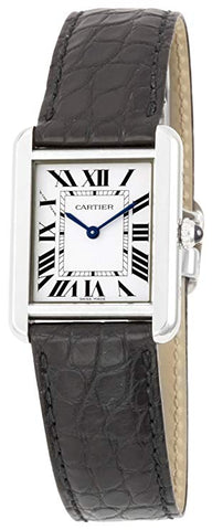 Cartier Tank Solo Stainless Steel Dress Women's Watch with Leather Band W5200005