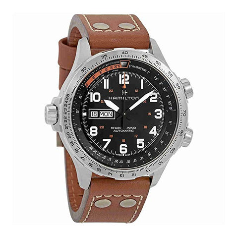 Hamilton Khaki X-wind Day Date 45MM Black Dial Brown Leather Band Men's Watch H77755533