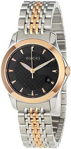 Gucci Timeless Steel and Pink PVD Black Dial Women's Watch YA126512