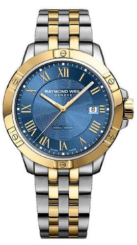 Raymond Weil Tango 41MM Blue Dial Two Tone Men Watch 8160-STP-00508